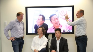 Fintech players Toby Heap, Aris Allegos (on screen) Andrew Lai (on screen), Alex Scandurra, Simon Cant (sitting left), and Andrew Corbett Jones are launching a new association.