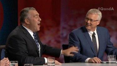 Delivered 'Ruddisms' ... Treasurer Joe Hockey enjoys a lighter moment with host Tony Jones.