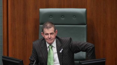 In the hot seat ... Peter Slipper after he was elected Speaker in Federal Parliament on Thursday.