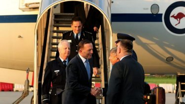 Prime Minister Tony Abbott arrives in The Netherlands.