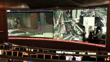 Central command control inside Dubai police headquarters.