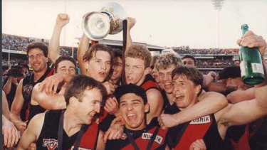 Mark Thompson (front right) and his 1993 premiership team.