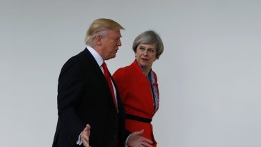 Critics of Prime Minister Theresa May say she's too chummy with the US President.