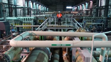 Inside the desalination plant.