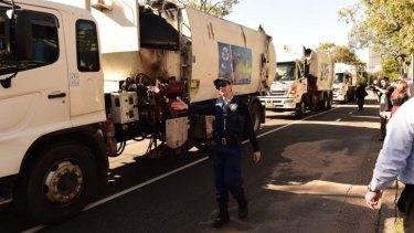 Garbage trucks protest at the SBS program <i>Struggle Street</i>.