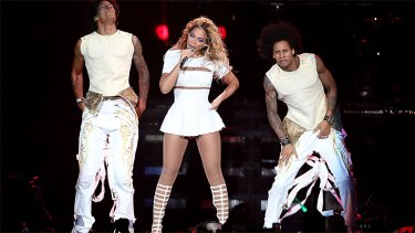 Beyonce performing live in Sydney.
