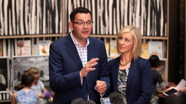 Daniel Andrews with his wife Catherine Andrews in the state library.