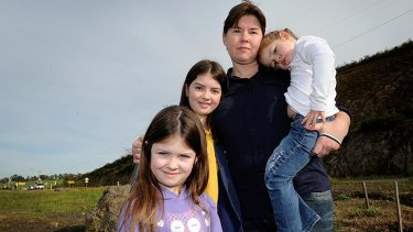Naomi Robertson with three of her four children (left to right)  Maddie, 5, April, 10 and Lily, 3. Her eldest daughter Jaymee is in year 7.
