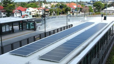 Solar panels on the roof of the new Langlands Park station.