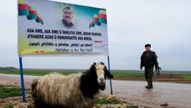 Banner featuring the image of jailed PKK leader Abdullah Ocalan.