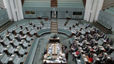 A bird's eye view of Parliament as the PM speaks about DisabilityCare on Wednesday.