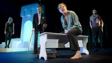 Laura Dawson as Lucie Manette, Peter Dark as Jervis Lorry and Don Smith as Dr Alexandre Manette in <i>A Tale of Two Cities</i>.