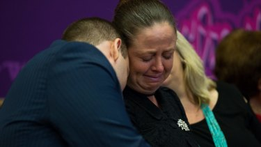 Sallie's son Anthony Belling and sister Rachel Parker at her Wayside Chapel funeral in December.