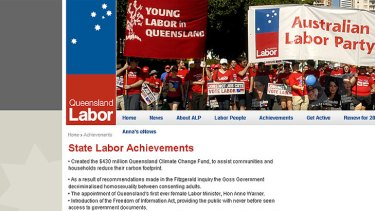 It's time (to update your website) ... The Queensland Labor Party spruiks some old achievements.