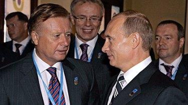 Leonid Tyagachev and Vladimir Putin.