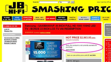 The online JB Hi FI ad which originally advertised the Samsung TV for $15, instead of 15% off.