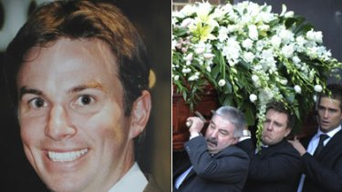 Unsolved murder ... Drew Grant and daughter Ella, and his funeral last July.
