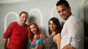 The cast of <i>Gaybies</i> (from left) Steve Le Marquand, Georgia Scott, Sheridan Harbridge and Cooper George Amai.