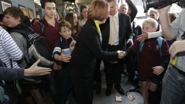 A salami sandwich at the feet of Prime Minister Julia Gillard at a school visit in Canberra.