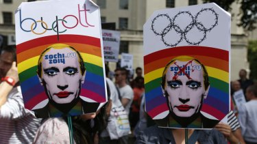 Activists protest against Russia's new law on gays, in central London on Saturday.