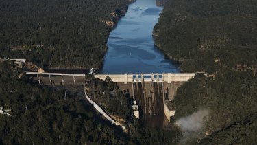 Aerial photograph of the Warragamba Dam Wall. Photographed Thursday 13th August 2020. Photograph by James Brickwood. SMH NEWS 200813