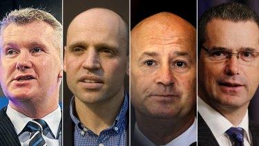 Labor politicians ... Tony Burke, Mark Arbib, John Robertson and Stephen Conroy.