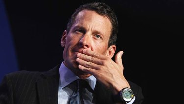 Choked up ... Lance Armstrong.