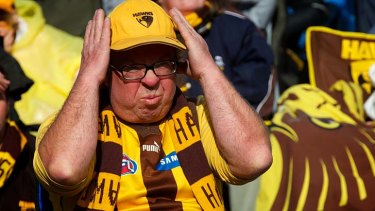 A Hawks supporter grimaces in frustration at the 2012 grand final.