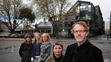 MGS architects Catherine Ranger, Rosanna Blacket, Sue Buchanan, Eli Giannini and Rob McGauran, outside their Port Melbourne social housing project.
