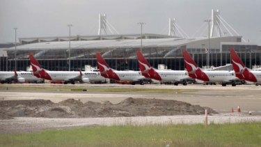 Qantas planes parked at Sydney Airport.