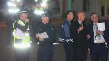 Investigating: Police at the scene.