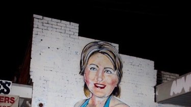 The mural of Hillary Clinton  by Melbourne artist Lushsux on the side of Footscray West shop Mr Mobility.