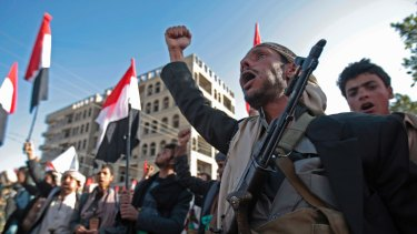 Supporters of Yemen's Shiite Houthi rebels   in Sanaa this month.