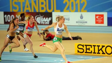 So easy: Sally Pearson wins the 60 metres hurdles in Istanbul.