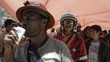 Not enough ... workers at the Freeport mine in Indonesia's Papua province strike in support of their demand for a pay increase.