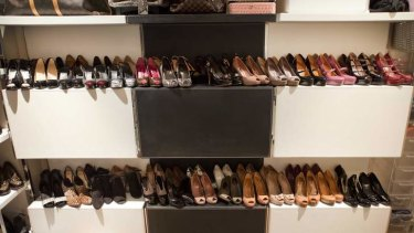 Rows of high-end shoes found at Mae Ja Kim's apartment.