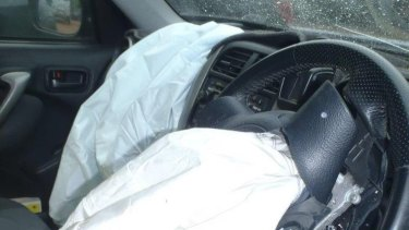 The Takata airbag in a RAV4 SUV, responsible for injuring a 21-year-old in Darwin.