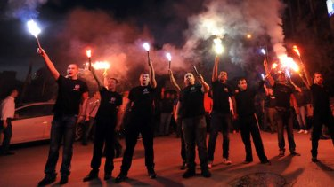 Supporters of Greece's extreme far-right party, Golden Dawn, in Thessaloniki last weekend.