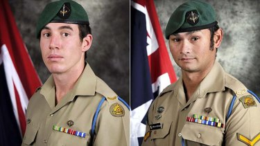 Private Nathanael Galagher, left, and Lance Corporal Mervyn McDonald, two of the  five Australian soldiers killed in Afghanistan last week.