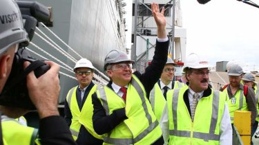 Kevin Rudd tours BAE Systems in Williamstown on Thursday.