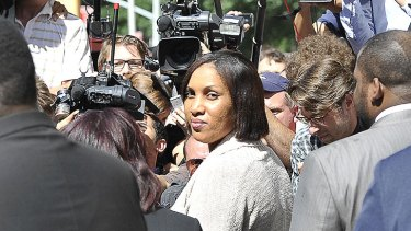 Accuser...Nafissatou Diallo leaves court after a meeting with prosecutors yesterday.