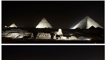 At Giza, Egypt, the pyramids and the Sphinx before (top) and during Earth Hour near Cairo on Saturday night.