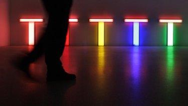 A Dan Flavin work from <i>The First Retrospective </i> at Munich's Modern Art Museum.