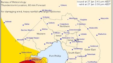 Severe thunderstorm warning issued for Geelong.