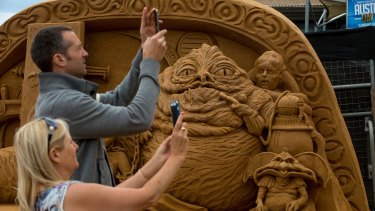 A sculpture of Jabba the Hutt on the Frankston waterfront as part of the popular annual event.
