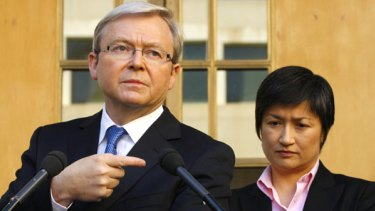 Prime Minister Kevin Rudd and the Minister for Climate Change and Water Penny Wong during the announcement of the Government s changes to the Carbon Pollution Reduction Scheme in Canberra.