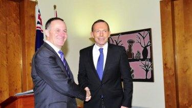 New Zealand Prime Minister John Key with Australian Prime Minister Tony Abbott.