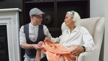 Fashion collector Tom McEvoy meets with 97 year old former fashion designer Elvie Pelman. Elvie's label was Elvie Hill.10th November 2015. The Age Fairfaxmedia News Picture by JOE ARMAO