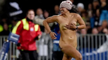 Rosa Kupa invades McLean Park during Saturday night's Test between New Zealand and Argentina