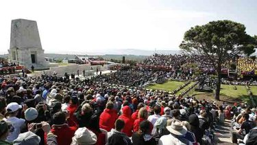 People attend the service at the Lone Pine Australian memorial in Gallipoli
